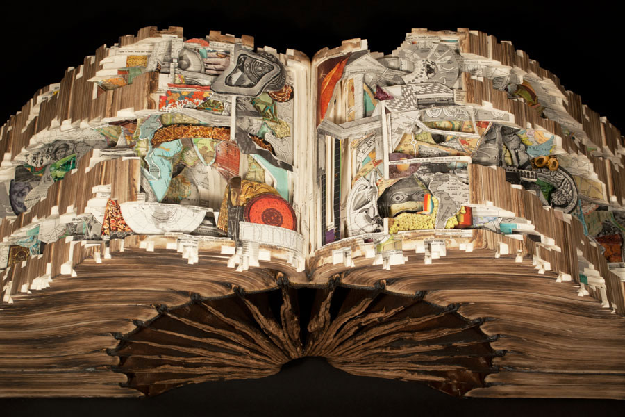 Brian Dettmer, Knowledge in Depth, 2013, Hardcover books, acrylic varnish, 16-1/4 x 34-1/2 x 11 inches