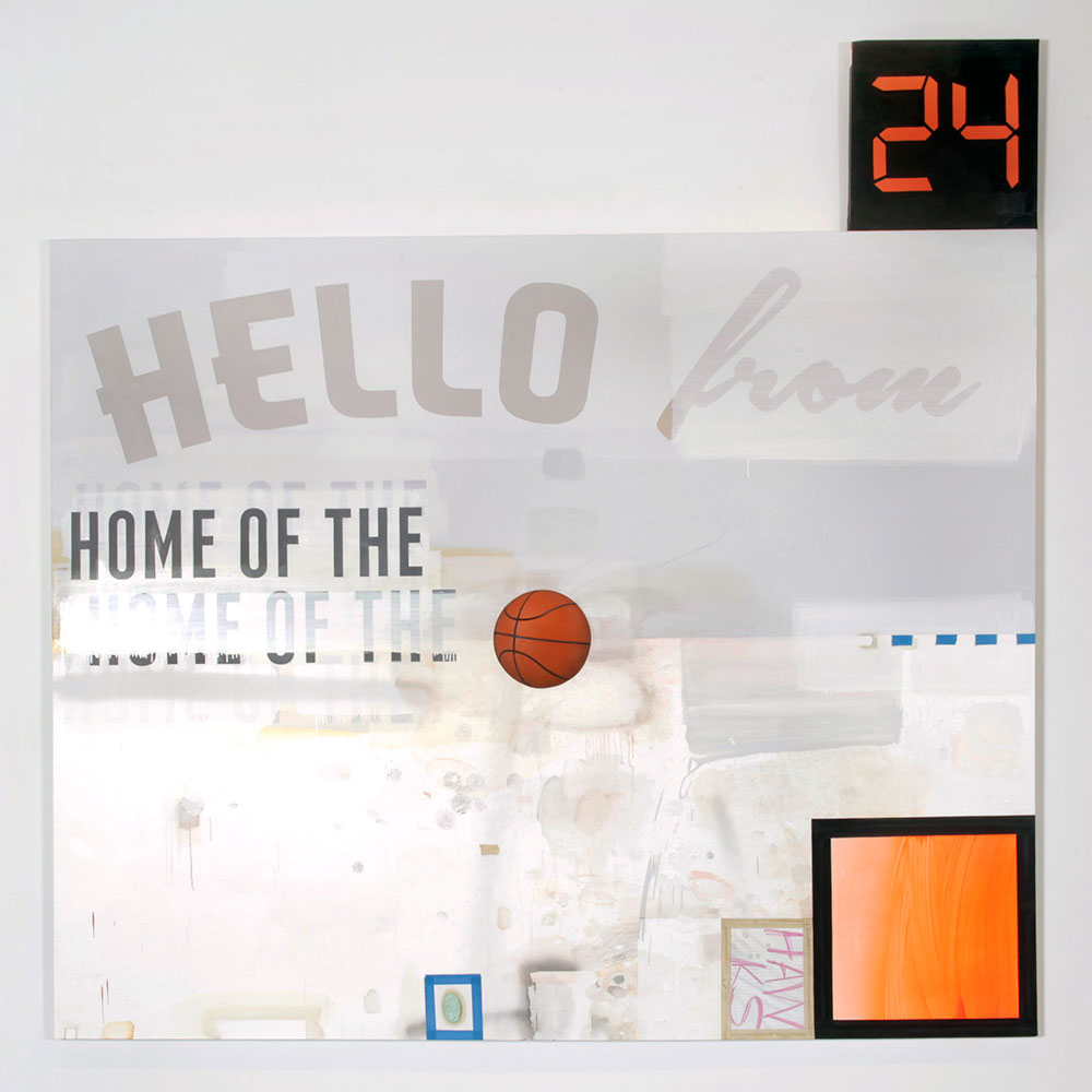 Craig Drennen, Hello From Home of the, 2014, Oil, alkyd, crayon, and graphite on canvas, 86 x 86 inches